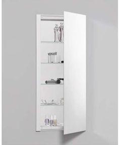 "Robern RC1636D4FP1 R3 16"" x 36"" x 4"" Plain Single Door Medicine Cabinet with Rev Mirrored Bathroom Storage Medicine Cabinets Single Door"