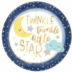 White plate trimmed in navy and gold star border with font Twinkle twinkle little star in gold metallic font Baby Shower Party Supplies, Baby Shower Parties, Baby Shower Themes, Baby Boy Shower, Baby Shower Decorations, Shower Ideas, Shower Box, Twinkle Twinkle Little Star, Star Baby Showers