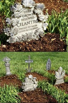Gardening Herbs - Turn the unsightly bare earth of your herb garden into a charming old cemetery by planting mini gravestones! This is a simple, if slightly morbid, way to make us. Witchy Garden, Gothic Garden, Victorian Gothic Decor, Garden Plants, House Plants, Flowers Garden, Shade Garden, Diy Flowers, Vegetable Garden