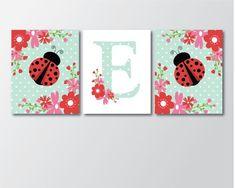 Ladybug Wall Art - Printable Art - Girls Nursery Decor - Ladybug Nursery - Girls Room Art - Monogram Nursery Art - Niños y padres, Ladybug Room, Ladybug Nursery, Baby Ladybug, Ladybug Decor, Girl Nursery Themes, Nursery Art, Nursery Decor, Room Decor, Nursery Ideas