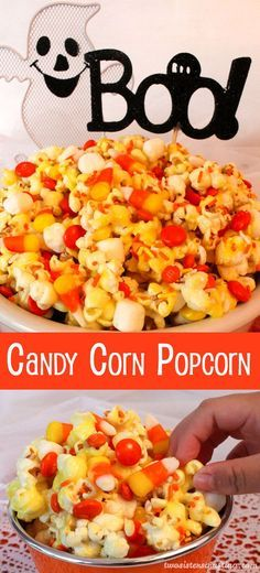 Candy Corn Popcorn Candy Corn Popcorn - a fun Halloween treat. Sweet, salty, crunchy and delicious and it is so easy to make. It would be a great Halloween Party Food or a movie night dessert! Fröhliches Halloween, Fun Halloween Treats, Hallowen Food, Halloween Goodies, Halloween Desserts, Halloween Cupcakes, Holiday Treats, Halloween Popcorn, Halloween Movie Night