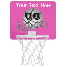 Personalized Mini Basketball Hoop Gifts for Girls with her NAME and Jersey NUMBER or Monogram. Practice Shooting Hoops from your own bed. Pink, Silver and Black.  Very cool Basketball Room Ideas for Girls.  See the matching pillow. More  Basketball Stuff CLICK HERE: http://www.zazzle.com/littlelindapinda/gifts?cg=196808750908670951&rf=238147997806552929  ALL of Little Linda Pinda Designs CLICK HERE: http://www.Zazzle.com/LittleLindaPinda*/