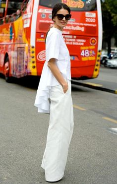 white wide-leg pants and Celine top