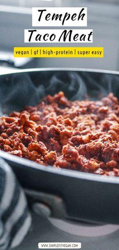 The best vegan Tempeh Taco Meat recipe that's ready in 10 minutes! Use it in tacos, burritos, bowls, and salads! Vegan Recipes Plant Based, Best Vegan Recipes, Clean Recipes, Veggie Recipes, Snack Recipes, Dinner Recipes, Vegetarian Desserts, Vegan Snacks, Vegan Meal Prep