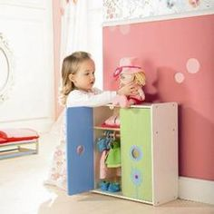 Click Image Above To Buy: Haba 5642 Doll Cupboard Flower Burst Doll Storage, Storage Chest, Clothing Storage, Room Lights, Doll Stuff, Kid Stuff, Baby Room, Toy Chest, Baby Dolls