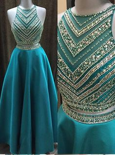 2016 Long Beading A-line Prom Dresses,Modest Two Pieces Prom Dress,Party Dresses,Formal Evening Dresses