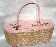 Vintage 50s Leslie of Miami Pink Poodle Parade Box Purse