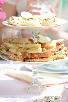 tea sandwiches, vintage tea party bridal shower