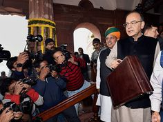 F M Arun Jaitley arrives in Parliament to present the Union budget for 2017-18, in New Delhi