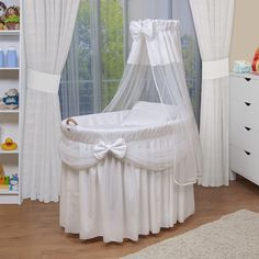Waldin Baby Bassinet Toy Wagon XXL White for sale online Baby Basinets, Best Changing Table, Iron Crib, Toy Wagon, Retro Baby, Moses Basket, Dream Baby, Baby Cribs, Baby Room