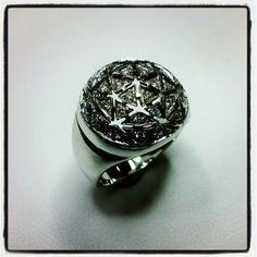 """Cupola"" 18kt pierced white gold ring with diamonds, handcrafted by Paolo Brunicardi goldsmith & jewelry maker @Brunicardi Preziosi, Marina di Carrara, Tuscany, Italy"