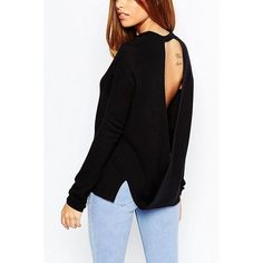 Yoins Yoins Black Jumper ($25) ❤ liked on Polyvore featuring tops, sweaters, black, shirts & tops, sheer shirt, black shirt, sheer black top, black sweater and open back black shirt