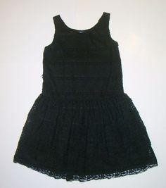 Gap Kids Kristen Black Floral Lace Sleeveless Ruffle Holiday Dress Girls XL 12  #GapKids #DressyHoliday