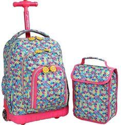 Back Pack Bag Rolling Elementary School Student Girl Travel Fashion Rucksack bf80b2933ab16
