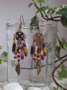 Gypsy Tribal Ethnique Cristal Coccinelle Dangle Boucles d/'oreilles clous Vintage Bijoux