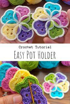 Crochet Hot Pads, Crochet Towel, Knit Or Crochet, Crochet Gifts, Crochet Motif, Crochet Ripple Blanket, Crochet Potholder Patterns, Crochet Dishcloths, Crochet Flower Patterns