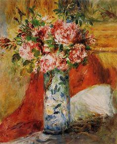 Roses+in+a+Vase+-+Pierre-Auguste+Renoir