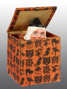 Vintage Halloween Toy ~ Witch Jack-In-The-Box Toy * Circa, 1930's