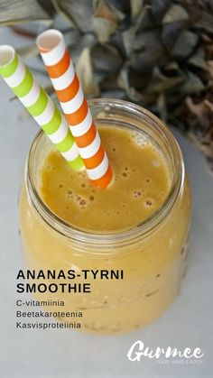 Ananas-tyrnismoothie Smoothie, Pudding, Fruit, Desserts, Food, Pineapple, Tailgate Desserts, Deserts, Custard Pudding