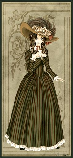 "Galerie des Modes I by Seitou.deviantart.com on @deviantART - From the artist's comments: ""This is part of a series of manga-styled Galerie des Modes fashion plates that I'm doing....Anyway, this is Plate I. The gown is based off the robe a l'anglaise."""