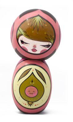 Julie West's kokeshi doll, Mirabelle.  #kokeshi #doll