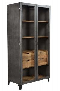 2 Door Industrial Cabinet With Wood Shelves Tall Cabinet Storage, Locker Storage, Dining Room Storage, Cabinet Furniture, Wood Shelves, Industrial Furniture, Doors, Home Decor, Diy Wood Shelves