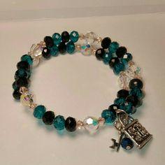 Swarovski Wrap Bracelet Beautiful Swarovski & Chinese Crystal wrap bracelet w/Silver lock & key charm. Super cute! . Jewelry Bracelets