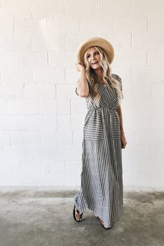 Stripe Maxi Dress with Pockets | ROOLEE