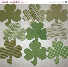 ON SALE Die Cut Shamrock Clover Cards DIY by Paperquick on Etsy, $2.55