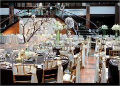 Reception - Fall brown, olive, damask wedding - nice centerpiece combination (don't really see the damask, it was in the small details, e.g. escort cards)