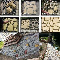 Pathmate Random Stone Mold Concrete Stepping Stone Paver Molds Pathway Maker 20  | eBay