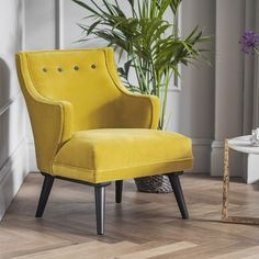 Lola Chair in Mustard Yellow and Grey Velvet