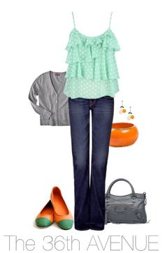 Early Fall Outfit. I love the ruffle shirt. #outfits #orange #gray