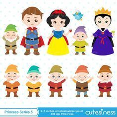 Branca de Neve, príncipe, Rainha Má e os anões