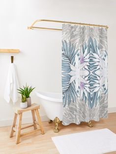 """Denim Blooms Forever"" Shower Curtain by Polka Dot Studio Elegant Shower Curtains, Bathroom Shower Curtains, Tranquil Bathroom, Contemporary Shower, Border Design, Program Design, Bathroom Accessories, Bathroom Ideas, Invite"