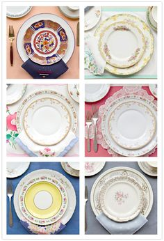 Table setting brainstorming....similarly themed tables could work...depending on what we decide to do for linens.