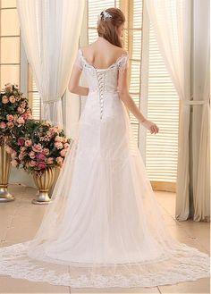 Elegant Lace & Tulle Off-the-shoulder Neckline A-line Wedding Dresses US 4