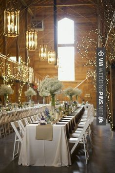 "Awesome - like the white lights on the ""trees"" attached to the walls of the barn 