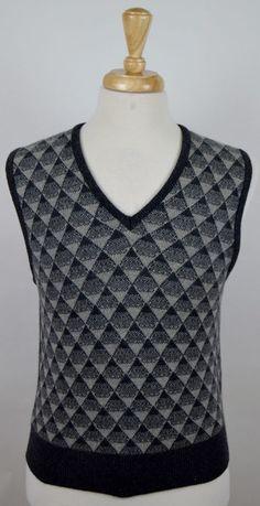2287024d8 men s Vtg Forstmann gray argyle 100% cashmere v-neck sweater vest Small  used