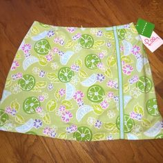 """Lilly Pulitzer skort Brand new. New with tags. Lilly Pulitzer """"guava green"""" lime printed skort. Super super cute!!! Lilly Pulitzer Skirts Mini"""