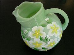 Vintage  Jadite Ball Pitcher Hand Painted