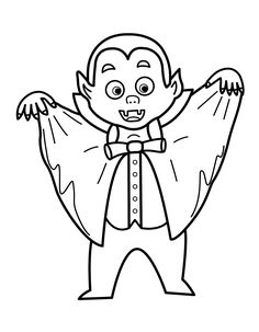 Halloween Vampire coloring pages for kids, printable free Cute Halloween Coloring Pages, Halloween Coloring Pictures, Minion Coloring Pages, Halloween Pictures, Colouring Pages, Coloring Pages For Kids, Coloring Books, Fall Coloring, Kids Coloring