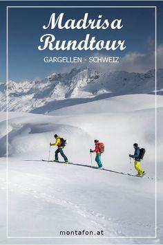 Die Madrisa Rundtour bietet Skitourenfanatiker eine spektakuläre Tour von Gargellen über die Schweiz und wieder zurück. Hier geht's zum Erlebnis. #skitouren #skifahren #winter #powder #schnee #madrisa #schweiz #meinmontafon #echterlebt #visitvorarlberg Bus Und Bahn, Mount Everest, Skiing, Mountains, Nature, Travel, Madrid, Event Calendar, Winter Vacations