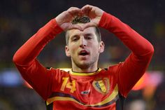 Belgium's Dries Mertens celebrates after scoring against Slovakia during a friendly soccer match at the Jan Breydel stadium in Bruges, Belgium on Wednesday, Feb. 6, 2013. (AP Photo/Geert Vanden Wijngaert)