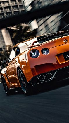 Nissan GT-R in orange: