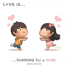 HJ-Story :: Love is… running for a hug! Cute Love Stories, Funny Stories, Love Story, Hj Story, Love Quotes Funny, Funny Love, Cute Love Cartoons, Couple Cartoon, Couple Drawings