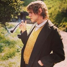 #merry #brandybuck #hobbit #shire #pipe #smoking #yellow #green #waistcoat #curly #hair #sky #tree #grass #middle #earth #thehobbit #lotr #lordoftherings    #Regram via @__lordoftherings__