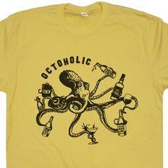 2295f9f6 Octoholic Funny Beer T Shirts Vintage Octopus Craft Bar Pub Novelty Vintage  Tees, Vintage Bar