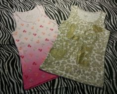 ~ Justice Girls SET of 2 Sparkly Animal Print Ribbed Tank Top ~ Size M 12 ~ EUC