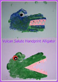 Easy handprint art - can be an 'A' for Alligator or 'C' for Crocodile School activity or Craft for Reptile Unit Study